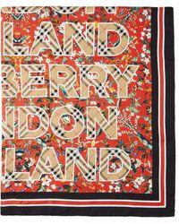 Burberry レッド シルク フローラル ロゴ スカーフ