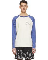 Rhude T-shirt à manches raglan et logo blanc cassé et bleu
