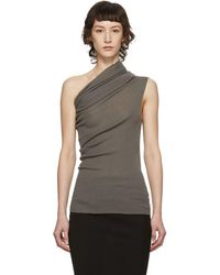 Rick Owens Taupe One Shoulder Tank Top - Multicolour
