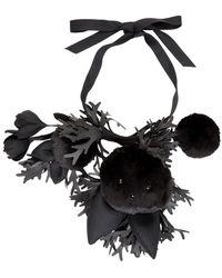 Comme des Garçons Black Toy Bunny And Flower Necklace