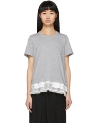Sacai T-shirt gris Lace Ruffle
