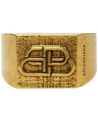 Balenciaga Gold Bb Logo Ring - Metallic