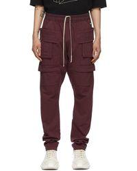 Rick Owens Drkshdw Burgundy Creatch Drawstring Cargo Pants - Purple