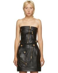 Versace ブラック レザー コルセット