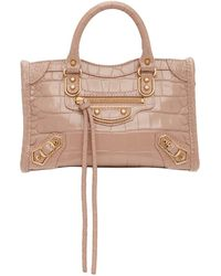 Balenciaga Sac embosse facon croco rose Nano City