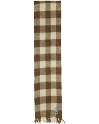 Gucci - Brown And White Long Plaid Wool Scarf - Lyst