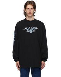 Vetements ブラック Embroidered ロング スリーブ T シャツ