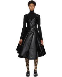 Junya Watanabe ブラック & ホワイト フェイク レザー チュール ドレス