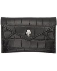 Alexander McQueen - Black Croc Skull Envelope Card Holder - Lyst