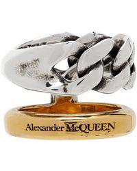 Alexander McQueen Bague à chaîne argentée et dorée Stacked - Métallisé