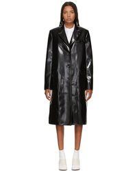 Jil Sander Navy - Black Faux Leather Coat - Lyst