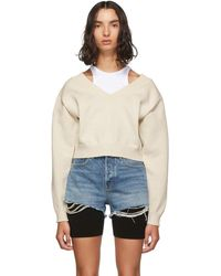 T By Alexander Wang Off-white Cropped Bi-layer V-neck Sweater