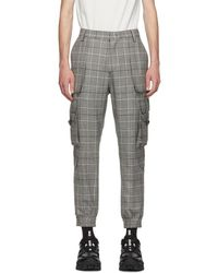 Juun.J Black And Gray Plaid Tapered Cargo Pants