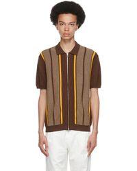 Beams Plus ブラウン ストライプ ポロシャツ