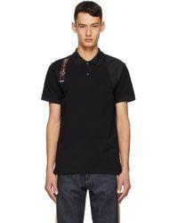 Alexander McQueen ブラック ロゴ ハーネス ポロシャツ