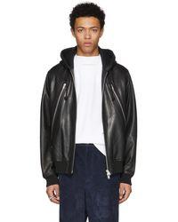 Maison Margiela - Black Leather Hoodie Jacket - Lyst