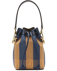 Fendi Blue And Orange Raffia Mini Mon Tresor Bag