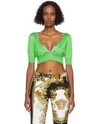 Versace グリーン シルク クロップド カーディガン