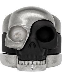 Alexander McQueen Ensemble de bagues gris acier Divided Skull - Multicolore