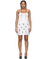 Marina Moscone ホワイト エンブロイダリー スモッキング ビスチェ チュニック ドレス