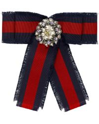 Gucci Red And Blue Striped Ribbon Brooch