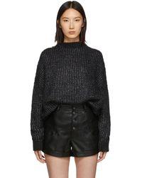 Saint Laurent - ブラック オーバーサイズ クルーネック セーター ドレス - Lyst