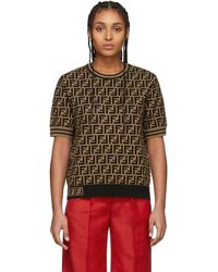Fendi Brown And Black Forever Short Sleeve Sweater