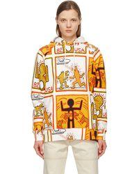 Etudes Studio Keith Haring エディション ホワイト All Over Print Racing フーディ - マルチカラー