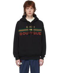 Gucci Boutique Print Hoodie - Black