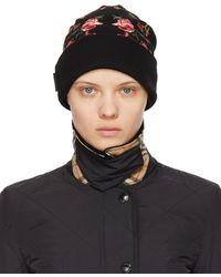 Burberry Bonnet en laine mérinos noir Embroidered Rose