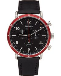 Shinola ブラック & レッド The Canfield Sport 45mm 腕時計
