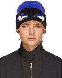 2de6987daa0 Lyst - Fendi Bag Bugs Convertible Wool Ski Hat in Blue for Men