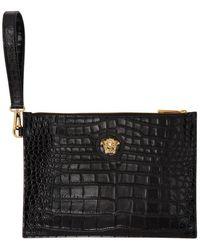 Versace - ブラック スモール クロコ メドゥーサ ポーチ - Lyst