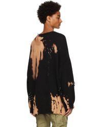 R13 ブラック Bleached Distressed セーター