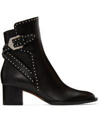 Givenchy ブラック Stud Elegant ヒール アンクル ブーツ