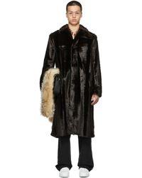 Commission Ssense Exclusive Faux-fur Curved Flap Coat - Black