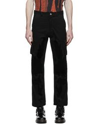 Youths in Balaclava Velvet Patch Cargo Trousers - Black