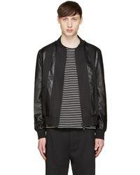 Giuliano Fujiwara - Black Twill & Leather Bomber Jacket - Lyst