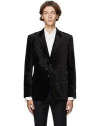 Alexander McQueen Blazer en velours presse noir Floral Sash
