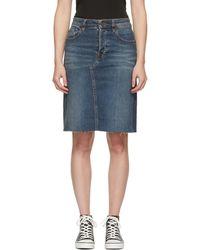 6397 Blue Denim Cut-off Skirt