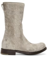 Rick Owens - Off-white And Brown Calf-hair Cop Zip Boots - Lyst