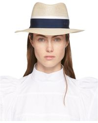 Maison Michel - Beige And Navy Straw Andre Fedora - Lyst