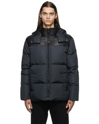 Army by Yves Salomon Black & Navy Down Nylon Puffer Jacket