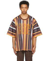 Phlemuns Brown Striped Oversized Logo T-shirt