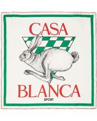 CASABLANCA ホワイト シルク Casa Sport スカーフ