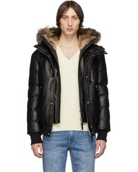 Mackage Black Down And Leather Bomber Jacket