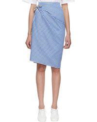 Ports 1961 ブルー And ブラウン ギンガム マルチスタイル スカート