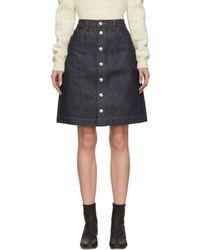 A.P.C. インディゴ Therese ボタンアップ スカート - ブルー