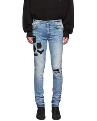 Amiri - Indigo Painted Military Patch Jeans - Lyst