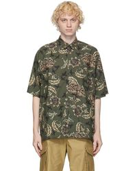 Givenchy Chemise surdimensionnee a manches courtes kaki Floral and Astral - Multicolore